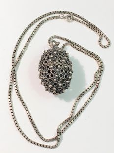 Vintage silver necklace with egg pendant - c. 1950