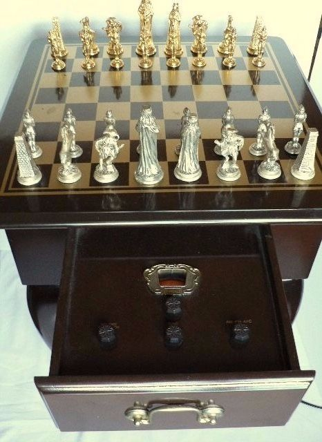 Wooden chess table with radio Large metal pieces