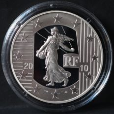 France - 10 Euro 2010 '50th anniversary of the new Franc' - silver