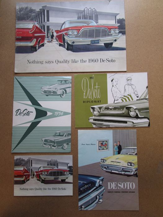 DE SOTO - lot of 5 original brochures Fireflite, Diplomat, Adventurer from 1956 to 1960