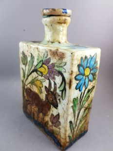 Ceramic bottle  - flowers, birds and goats - Iran - mid 20th century -