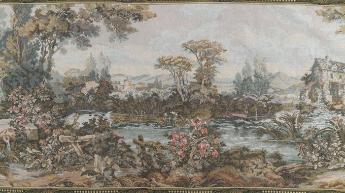 vintage  pictorial tapestry  , second half of the 20th century, France 89 cm x 188 cm,