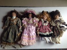 Lot of 24 collectors articulated dolls made in porcelain