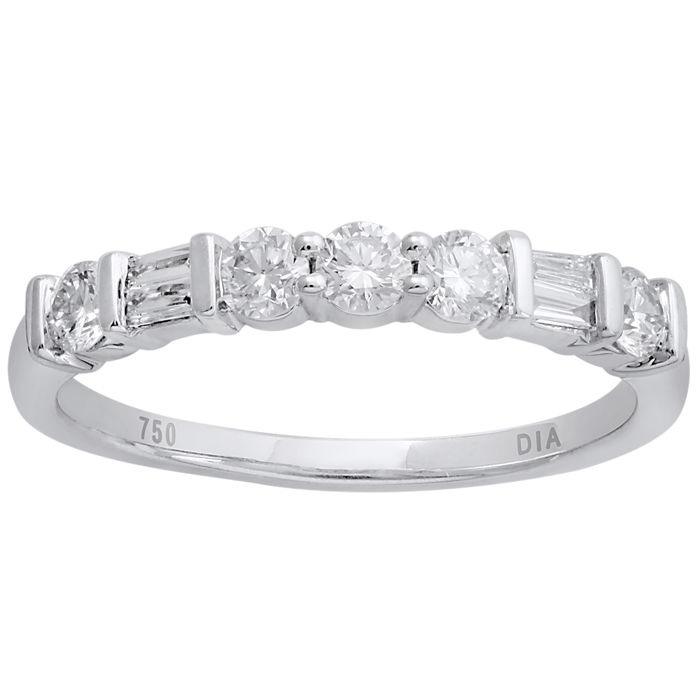 18Kt. white gold etenity band ring set with BAGUETTE CUT/ROUND BRILLIANT diamonds 0.51ct. GH colour and VS1 clarity , size 54/N