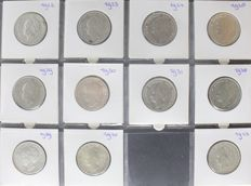 The Netherlands - 1 guilder 1922 through 1943D, Wilhelmina (11 different) complete - silver