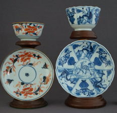 Cups and saucers with Imari decoration and underglaze blue decoration with deer - China - 18th/19th century