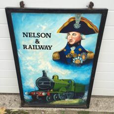 Signboard /English pub /Nelson railway/double-sided