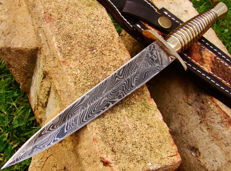Damascus Steel Hunting Dagger - 27.4 CM Hunting Knife - Handmade - 374 Damas Layers- Leather Sheath