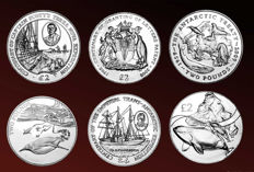 British Antarctic Territory - 2 Pounds 2008/2016 ''Antarctic Animals, Whale & Expeditions' (6 coins)