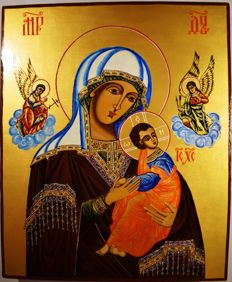 The russian orthodox icon Our Lady of the Passion, hand painted, wood, tempera, XXth century.