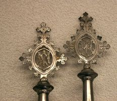 Rare: Antique procession staffs, Joseph and Mary - Set of two items