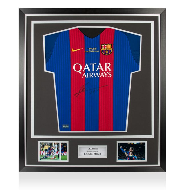 check out 2e99e 7a2e5 Lionel Messi - Official Signed FC Barcelona Limited Edition UCL Shirt vs  PSG (6-1) In Classic Deluxe Frame + COA and Photoproof ICONS. - Catawiki