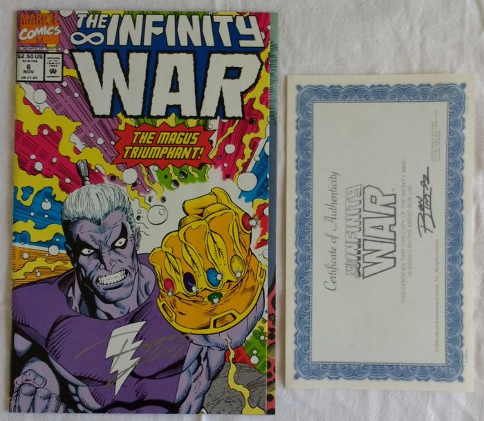 infinity war ron lim signed issue 6 comic with coa 1992 nm m