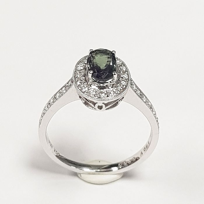 Magical Alexandrite (0.91 carats) and Diamond (0.30 carats) Ring in 18 kt White Gold- FREE SHIPPING