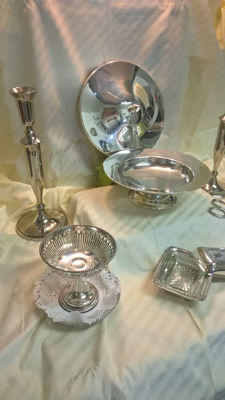 11 silver plated items, mid 20th century, mainly Dutch.
