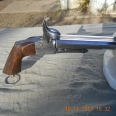 beautiful revolver with juxtaposed double barrel in calibre 9 mm with pin from the end of the 19 th century.