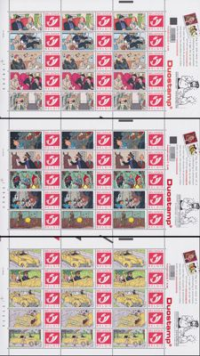 Belgium 2001 - 3 complete sheets duo stamp 'Tintin'