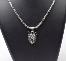 925 Italian sterling silver chain with Wolf Pendant - 60 cm