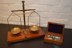 A Precision Scale and a box with weights - ca. 1900 and ca. 1930