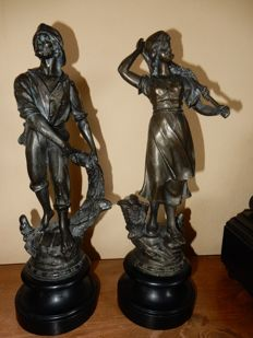 Sculptures- 2 x spelter fisherfolk.