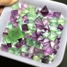 Collection of Natural Fluorite Crystals - 6,5x9 mm - 25,5x19 mm - 137 g (40)