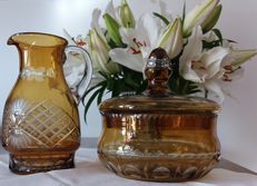Pitcher and box, coloured crystal