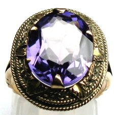 Amethyst cocktail ring solid 14 kt / 585 rose gold
