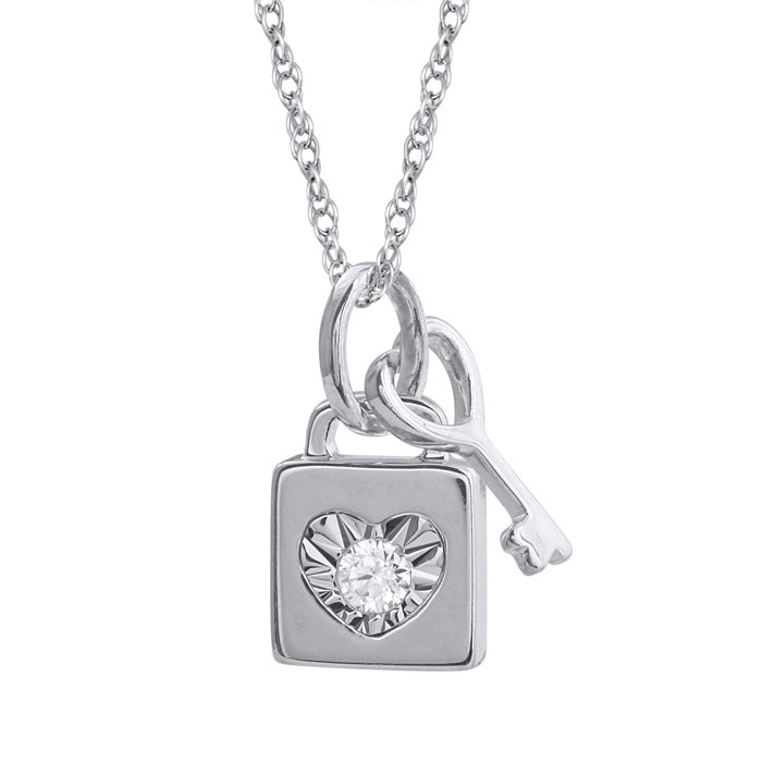 18kt white gold lock and key pendant set with diamond 005ctgh 18kt white gold lock and key pendant set with diamond 005ctgh aloadofball Images