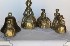 Collection of 6x bronze and brass bells, various origins Netherlands, France, Germany and Russia - First half of the 20th century