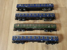Märklin H0 - 4029/4051/4052/4053 - Four passenger carriages, 2x with interior lighting, of the DB