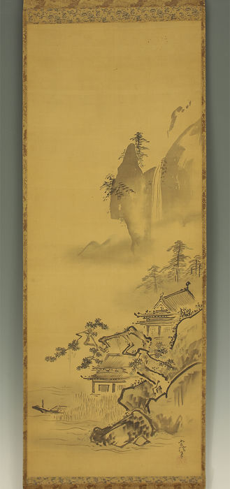 Handpainted hanging scroll - a late Meiji copy of a painting by Kano Tsunenobu (1636-1713)  - Japan