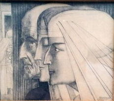 After Jan Toorop (1858-1928) - 'Bezonkenheid - Meditatie - Vuur' - 1928