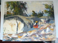 Beautiful impressionistic painting - Congo - 1960s