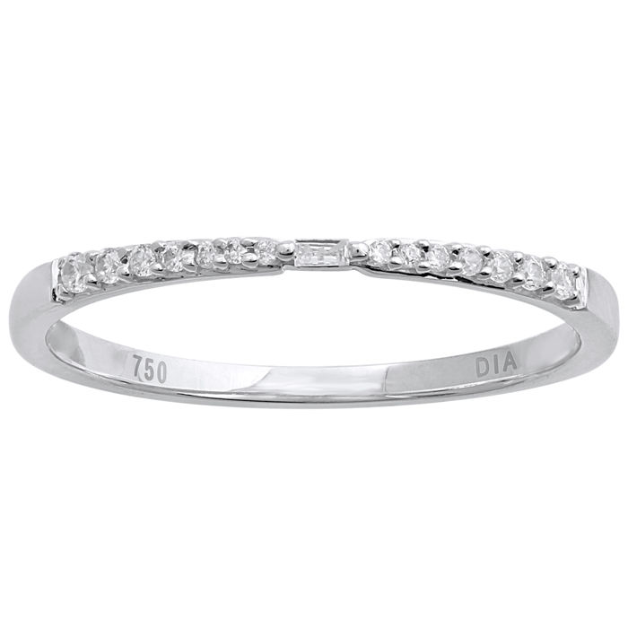 18Kt. white gold eternity band ring set with BAGUETTE CUT/ROUND BRILLIANT diamonds 0.09ct.,GH colour and VS1 clarity, Size 54/N