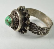 Solid silver secret compartment ring with turquoise cabochon, Egypt