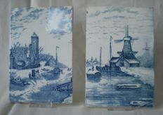 2 old tiles with beautiful typical Dutch scene