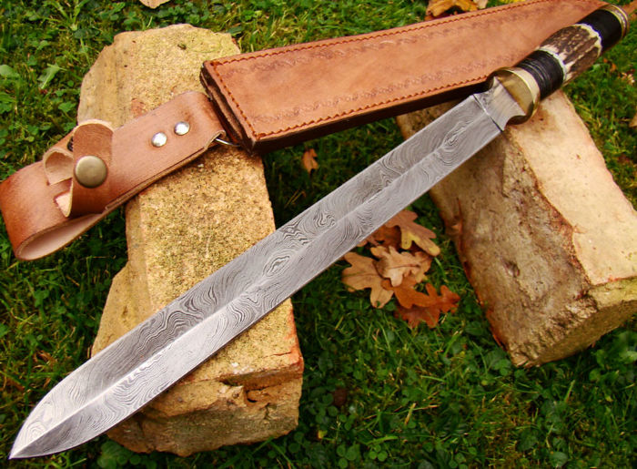 Damascus Steel Handmade 47 CM Long Hunting Sword Huge Dagger - Deer Stag Handle with Blue Gem Stone Beautiful Sword - Hand Stitched Leather Sheath