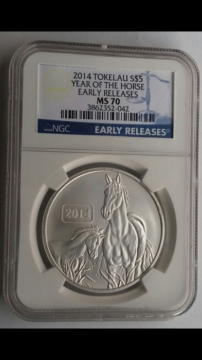 Tokelau - 5 Dollars 2014 'Year of the Horse' - 1 ounce silver