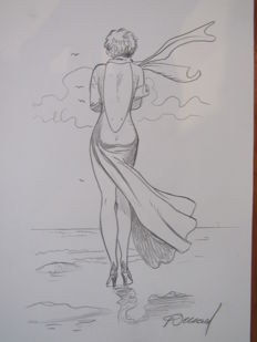 Renaud - original drawing - sketch for a back cover image - Jessica Blandy