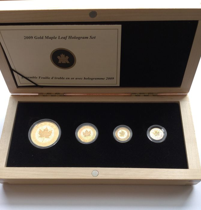 Canada - Maple Leaf Hologram 4-Coin Set (1, 5, 10 & 50 Dollars), 2009 - 43.55 g Gold