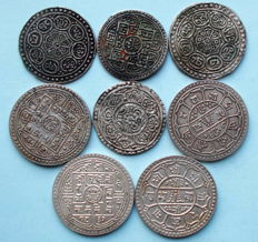 Nepal – 1 en 1½ Mohars 'Shah Dynasty 1768-2006' (8 different coins) – silver