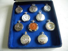 Very nice collection of 10 silver plated watches in a  wood and velvet case