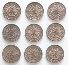Netherlands - ½ cent 1885 Willem III  (9 pieces) - bronze