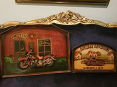 2 Harley Davidson 3D vintage advertising  - From the 70's