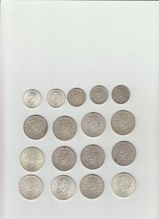 Netherlands - 1 gulden and 2½ gulden 1956/1966 Juliana - 17 pieces in total - silver