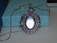 Art Deco 925 sterling silver necklace with pendant watch, England 1967