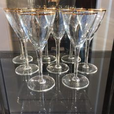 8 glasses in Bohemian crystal decorated with 24kt gold