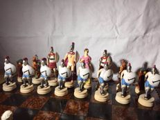 Chessboard Spartans vs Persian hand-painted.