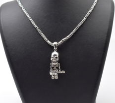 925 Italian sterling silver chain with  Skull Pendant - 60 cm