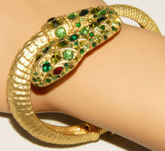 """Signed KENNETH JAY LANE - Gold plated green crystals hinged SNAKE Bracelet """"Couture Collection"""""""